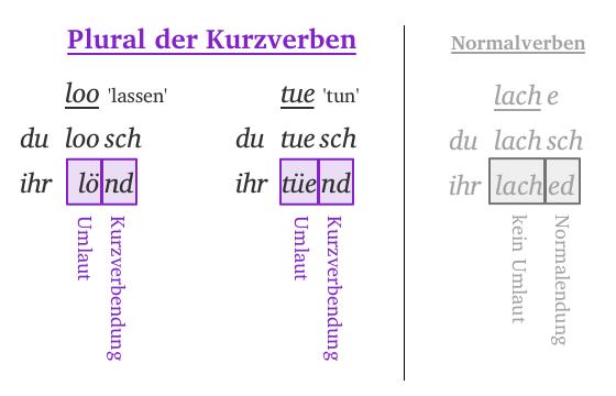 Pluralbildung der Kurzverben
